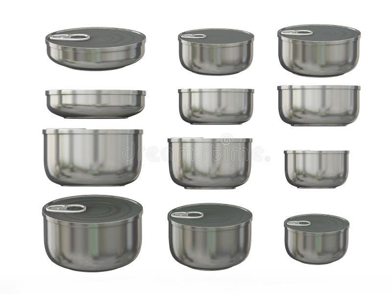 Reeks van aluminium om de blikken van het bodemtin in diverse grootte, het knippen vector illustratie