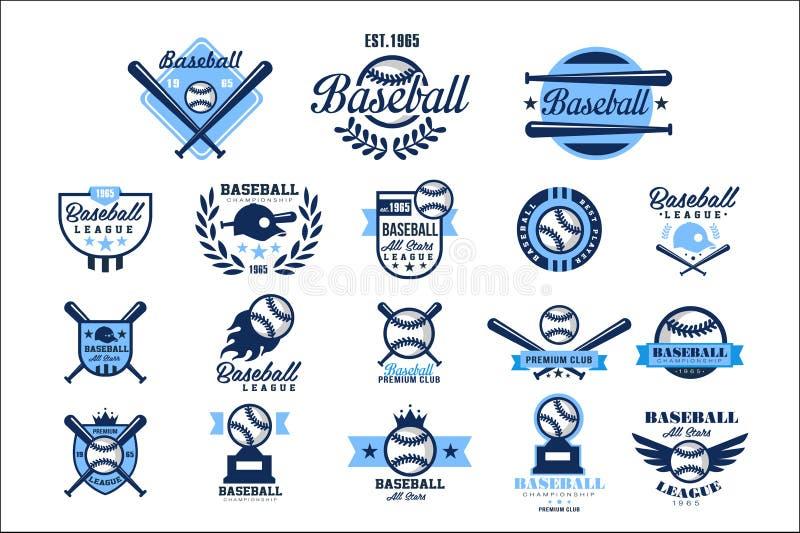 Reeks van Amerikaans honkbalembleem Originele blauwe etiketten met ballen, gekruiste knuppels, kappen en vleugels Sportclubemblem vector illustratie