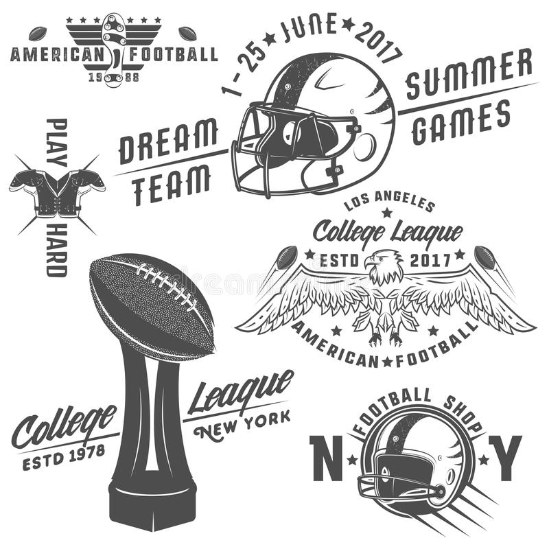 Reeks van Amerikaans voetbalemblemen en embleem vector illustratie