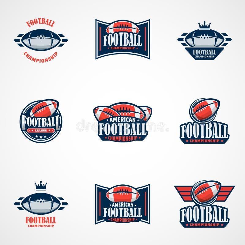 Reeks van Amerikaanse Voetbal Logo Template Vector Zieke Universiteitsemblemen vector illustratie