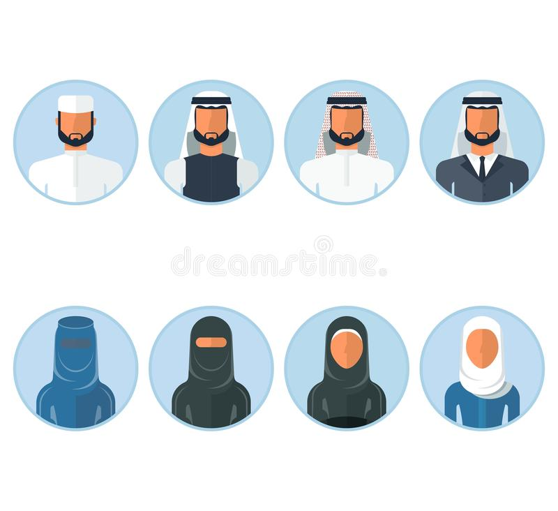 Reeks van Arabisch mensenpictogram royalty-vrije illustratie