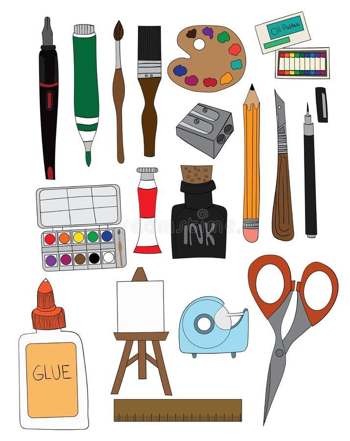 Reeks van Art Supplies Illustrations Hand Drawn-de Borstel Pen Ink van de Krabbelsverf stock foto's