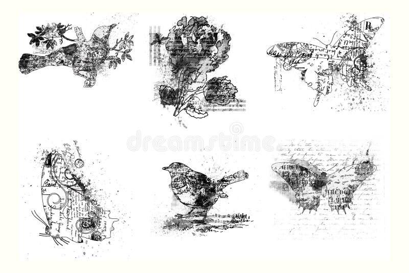 Reeks van artistieke vogel zes, bloem en vlinders stock illustratie