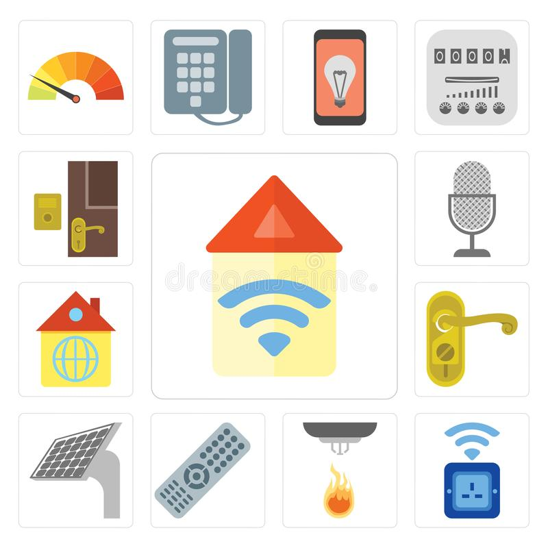 Reeks van Automatisering, Contactdoos, Verre Sensor, Comité, Deurknop, Huis vector illustratie