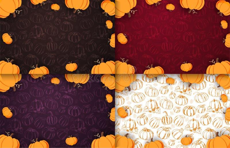 Reeks van Autumn Backgrounds met Pompoen voor het winkelen verkoop, promo stock illustratie