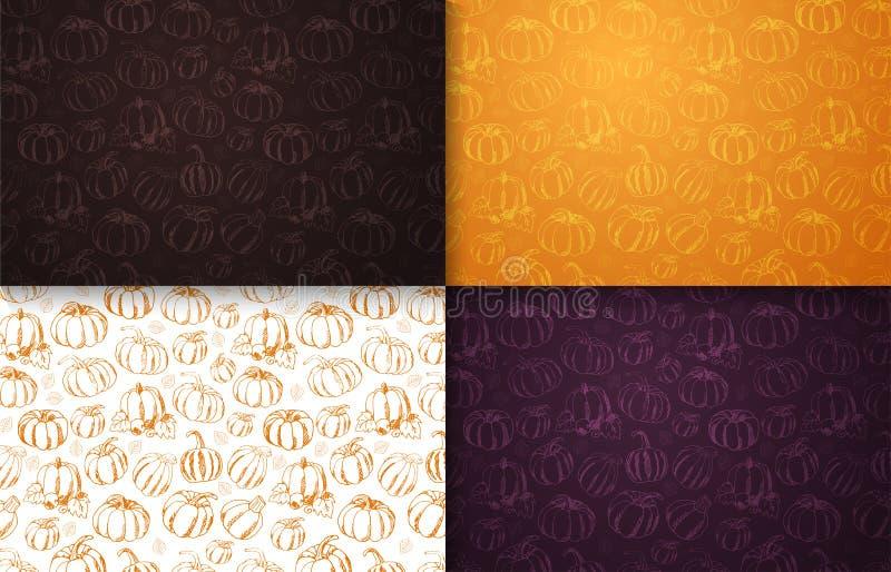 Reeks van Autumn Backgrounds met Pompoen voor het winkelen verkoop, promo vector illustratie