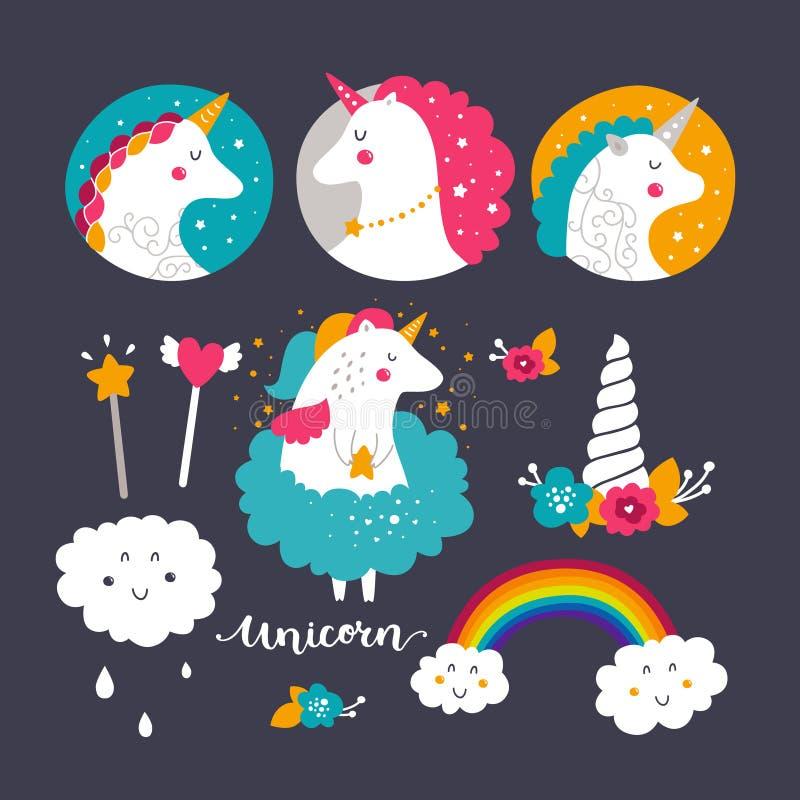 Reeks van babyeenhoorn en regenboog royalty-vrije illustratie