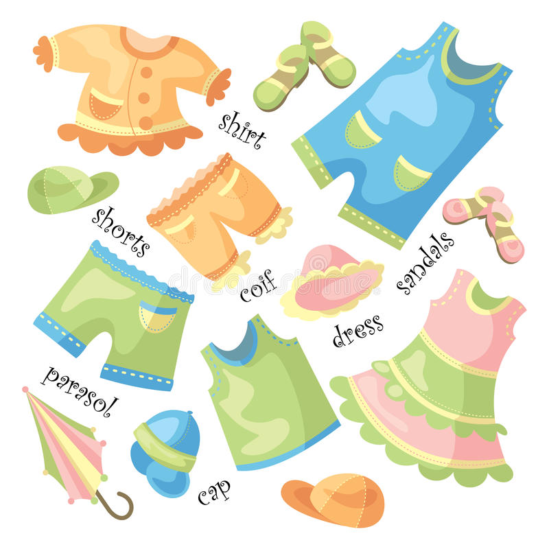 Reeks van babykleding royalty-vrije illustratie