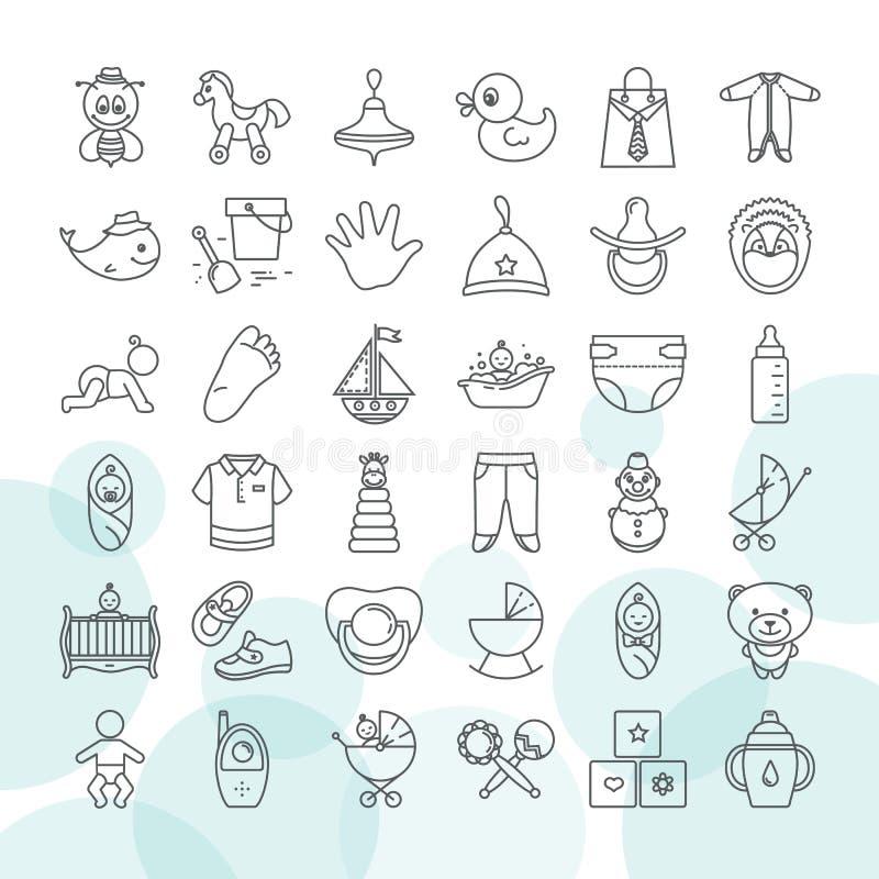Reeks van van babyspeelgoed en kleren pictogramreeks op een witte achtergrond wordt geïsoleerd die royalty-vrije illustratie