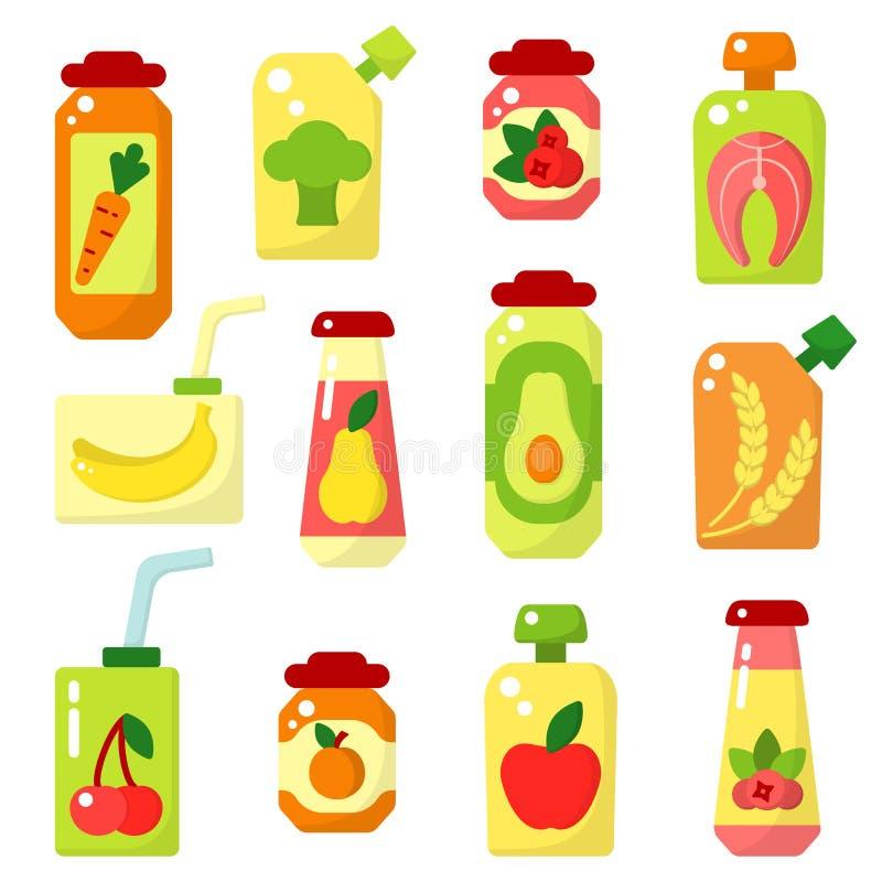 Reeks van babyvoedsel in kruiken vector illustratie