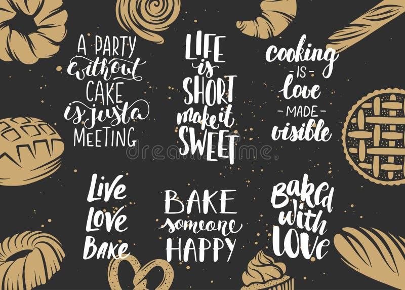 Reeks van bakkerij het vector van letters voorzien met gegraveerde elementen stock illustratie