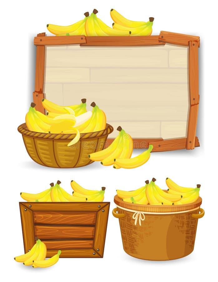 Reeks van banaanmalplaatje stock illustratie