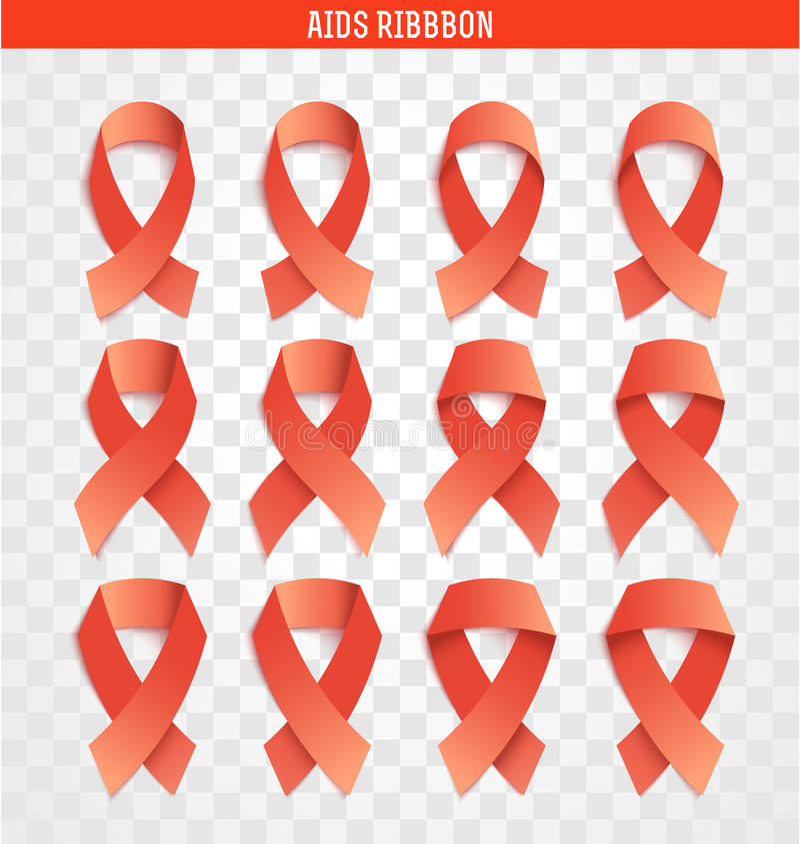 Reeks van 12 banden, symbool van bestrijding van AIDS royalty-vrije illustratie