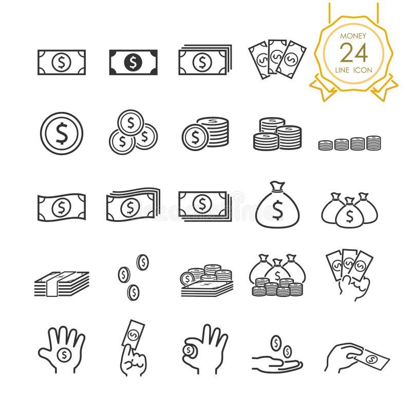 Reeks van bankbiljet, muntstuk, geldzak en pictogram van de geld in hand lijn voor website, infographic of zaken, eenvoudig symbo stock illustratie