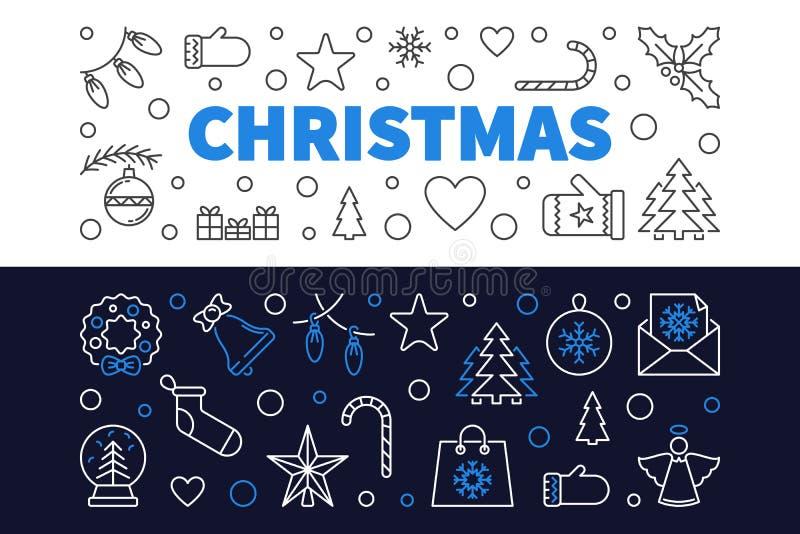 Reeks van 2 banners van het Kerstmisoverzicht Vectorkerstmisillustratie royalty-vrije illustratie