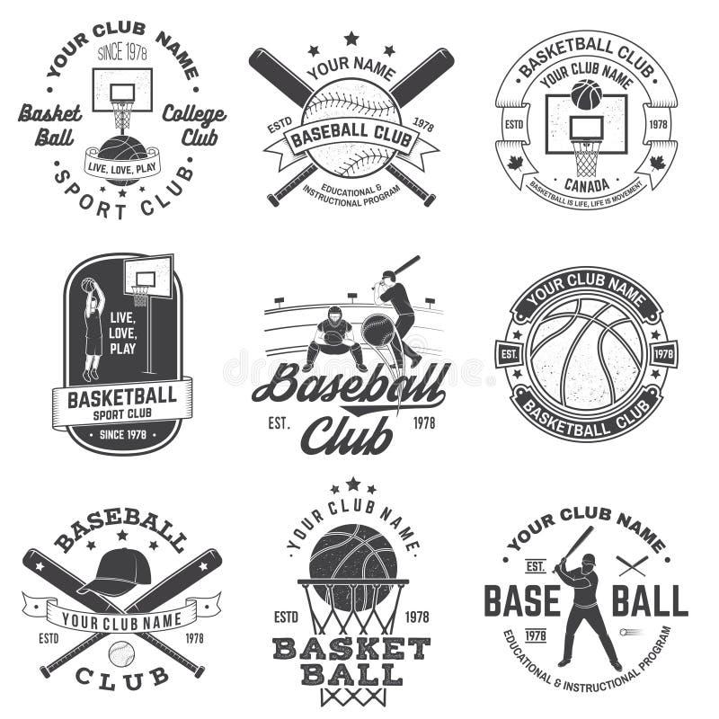 Reeks van basketbal en honkbalkenteken, embleem Vector Concept voor overhemd, druk, zegel, kleding of T-stuk Uitstekend ontwerp vector illustratie