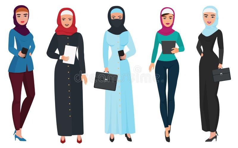 Reeks van bedrijfs Arabisch vrouwenkarakter met hijab Moslim vrouwelijke mensen vectorillustratie vector illustratie