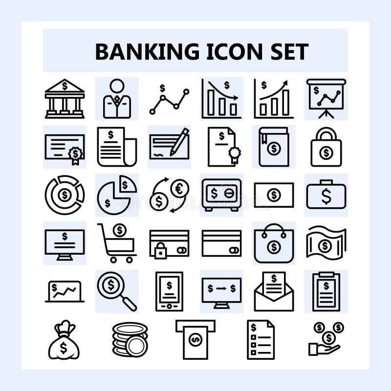 Reeks van 30 Bedrijfs, Bankwezen en Financiënpictogram in Overzichtsstijl, royalty-vrije illustratie