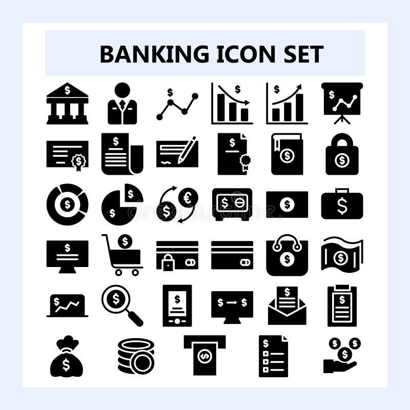 Reeks van 30 Bedrijfs, Bankwezen en Financiënpictogram in Vast lichaam of Glyph-stijl, stock illustratie