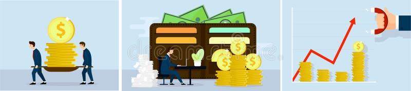 Reeks van bedrijfsconcept Investering, die geld, Mensenkarakter maken Vector royalty-vrije illustratie