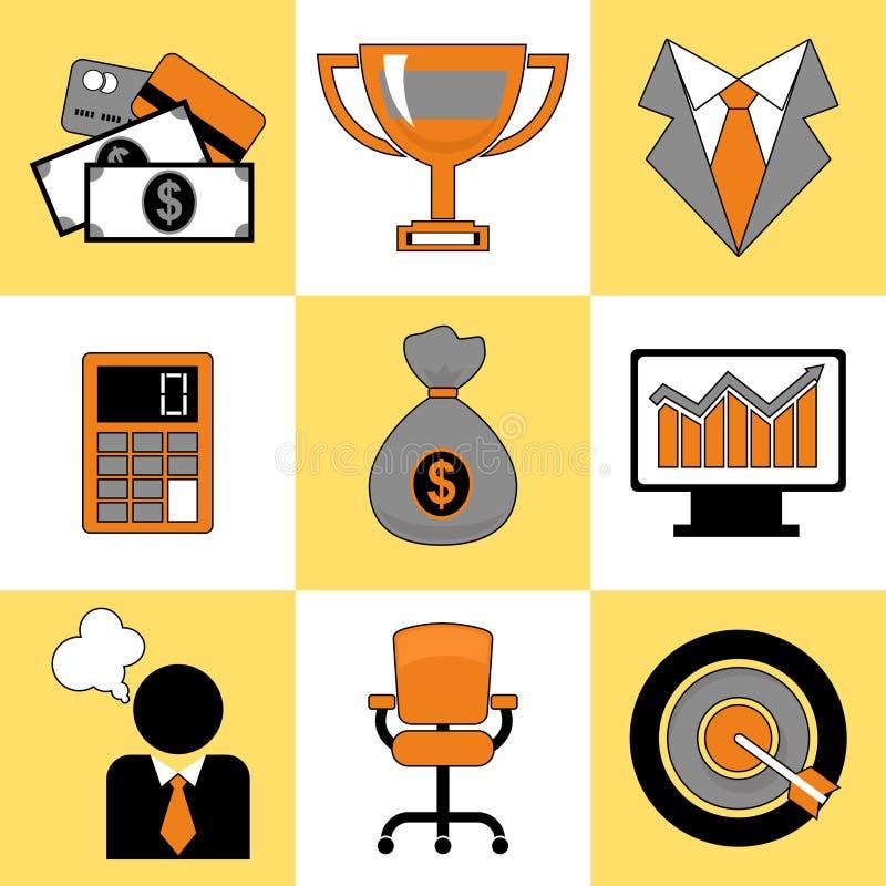 Reeks van bedrijfsdie voor Web wordt geplaatst en mobiel pictogrammenalgemeen begrip royalty-vrije stock foto's