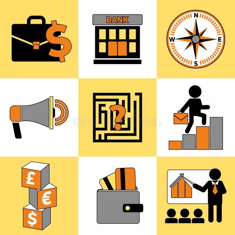 Reeks van bedrijfsdie voor Web wordt geplaatst en mobiel pictogrammenalgemeen begrip stock afbeelding