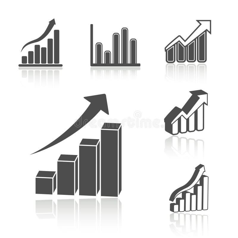 Reeks van bedrijfsstatistiekgrafiek - infographic pictogrammen, symbolen royalty-vrije illustratie