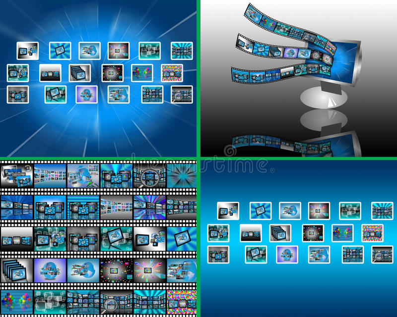 Reeks van 4 beelden stock illustratie