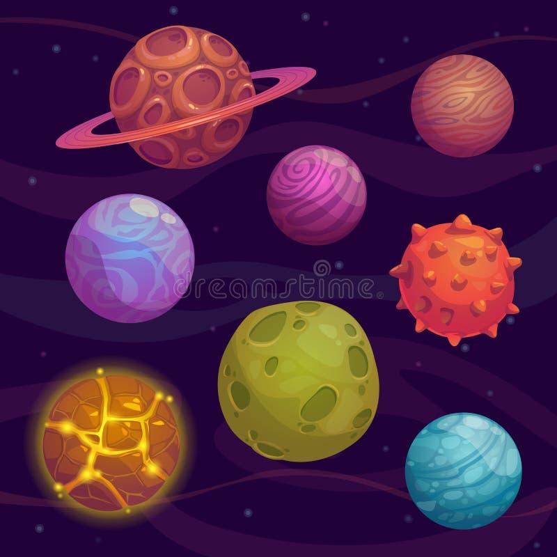 Reeks van beeldverhaal fantastische planeet stock illustratie