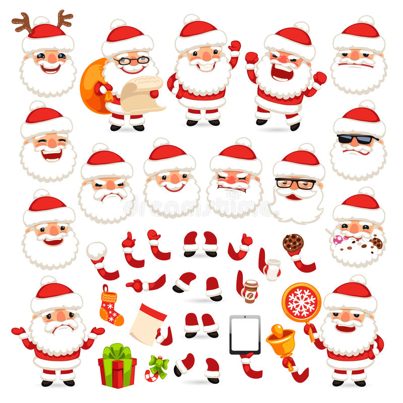 Reeks van Beeldverhaal Santa Claus voor Uw Kerstmisontwerp of Animatie stock illustratie