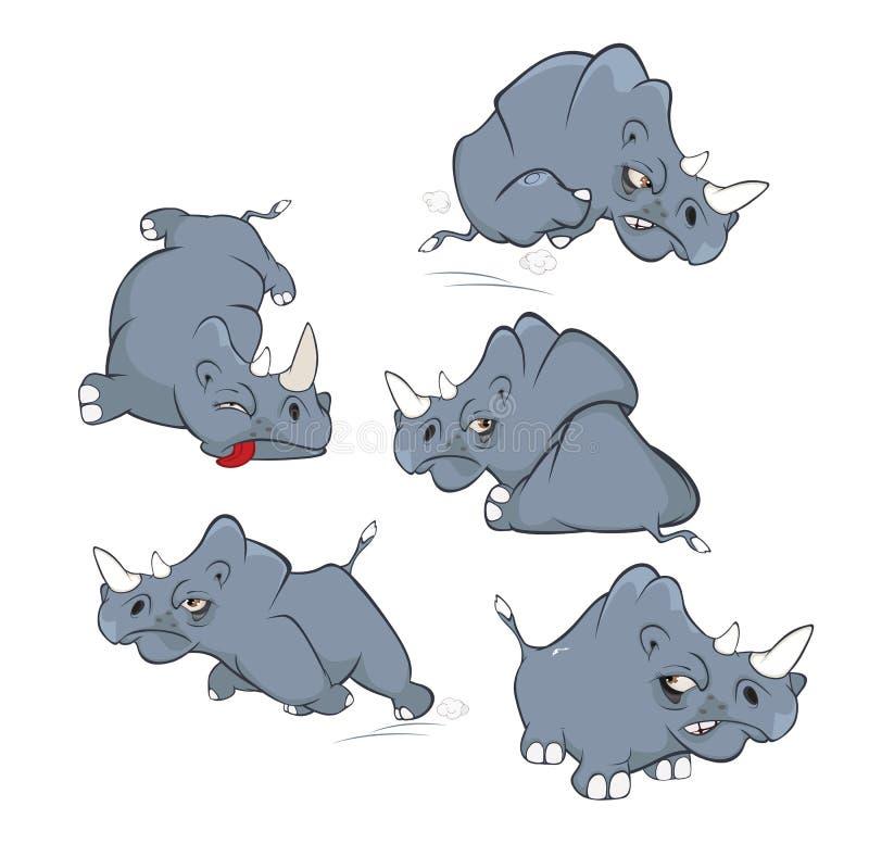 Reeks van Beeldverhaalillustratie Een Leuke Zwarte Rinoceros voor u Ontwerp royalty-vrije illustratie