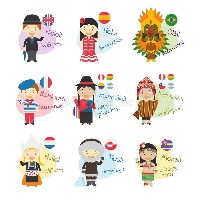 Reeks van beeldverhaalkarakters hello en onthaal die in 9 die talen zeggen in Amerika worden gesproken stock illustratie