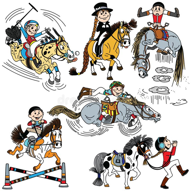 Reeks van beeldverhaalkind die een paard berijden stock illustratie