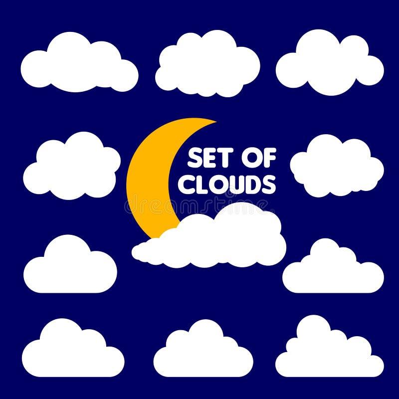 Reeks van beeldverhaalwolken en zon op blauwe achtergrond worden geïsoleerd die Vector illustratie Zonnige dag met wolken vectori stock illustratie