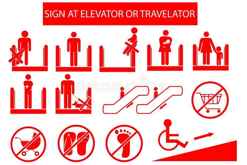Reeks van Belemmerd Teken in Roltrap of Travelator royalty-vrije illustratie