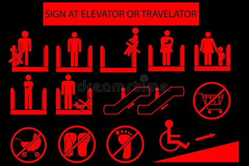 Reeks van Belemmerd Teken in Roltrap of Travelator vector illustratie