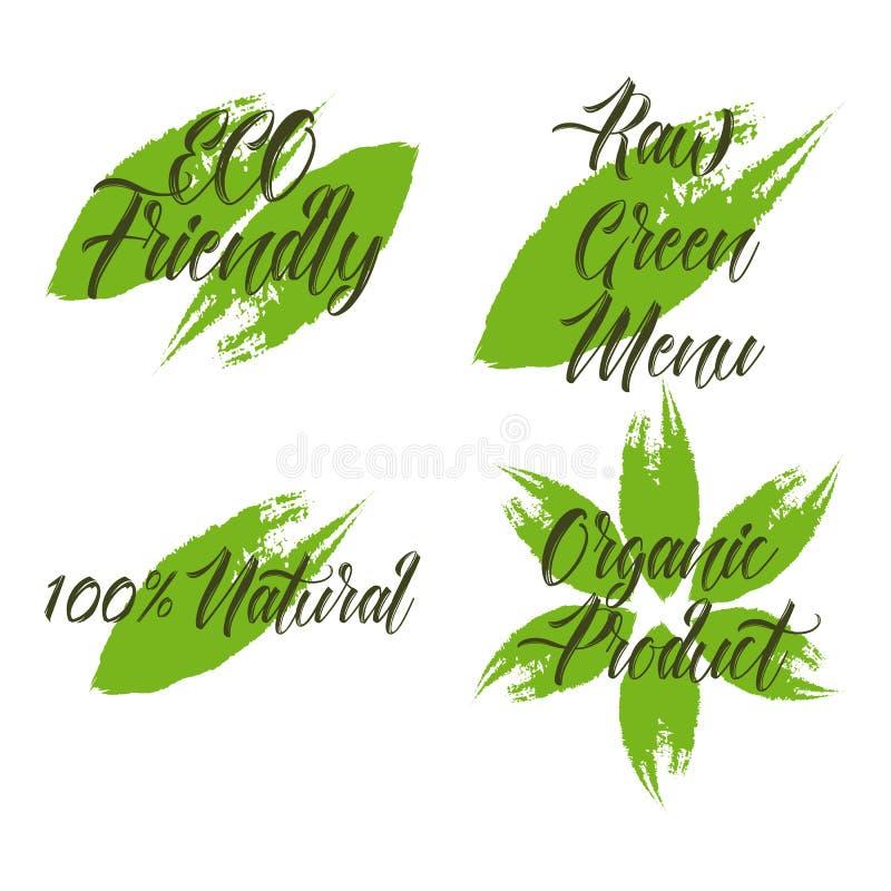 Reeks van biologisch product, ruw groen menu, natuurlijke 100, vriendschappelijke ECO stock illustratie