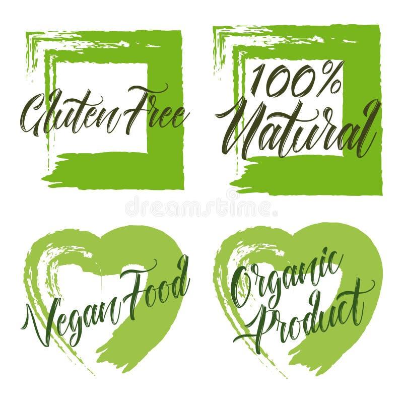 Reeks van biologisch product, vrij gluten, natuurlijke 100, veganistvoedsel royalty-vrije illustratie