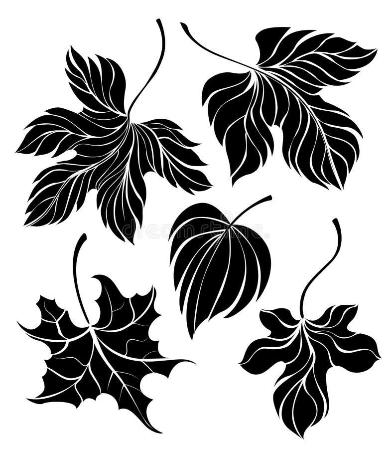 Reeks van bladerensilhouet vector illustratie