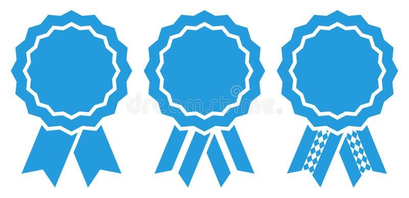Reeks van Blauw van Drie het Grafische Oktoberfest-Toekenningskentekens stock illustratie