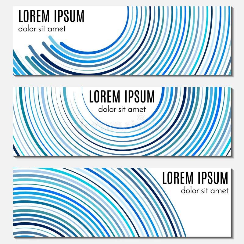 Reeks van blauwe abstracte kopbalbanners met gebogen lijnen en plaats voor tekst vector illustratie