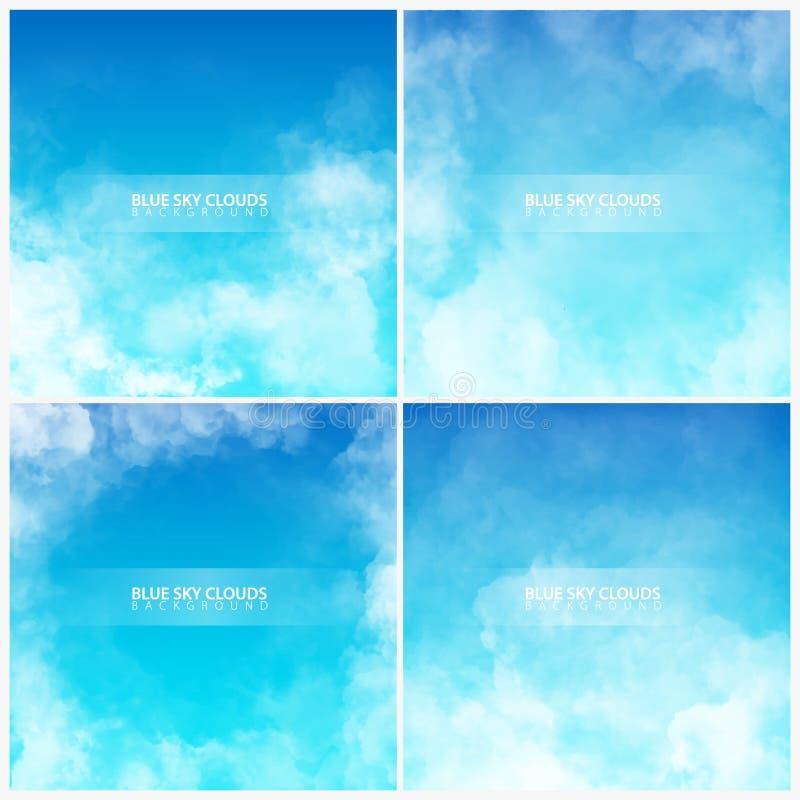 Reeks van Blauwe hemel met witte realistische wolken Vector illustratie stock illustratie