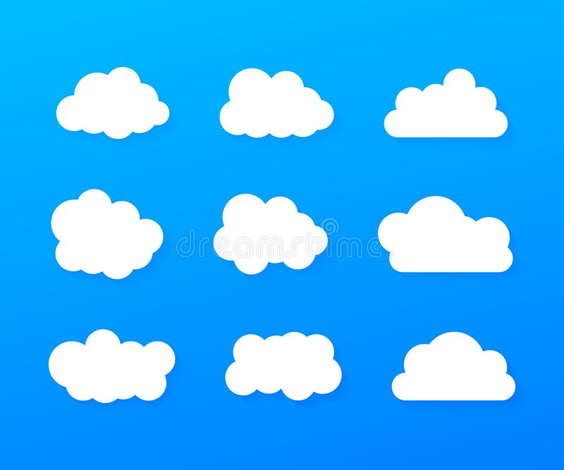Reeks van blauwe hemel, wolken Wolkenpictogram, wolkenvorm Reeks verschillende wolken Inzameling van wolkenpictogram Vector illus vector illustratie