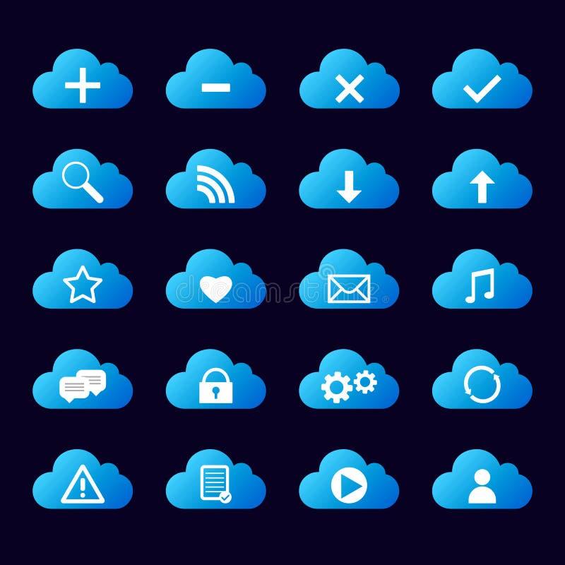 Reeks van blauwe pictogrammenwolk royalty-vrije stock afbeeldingen