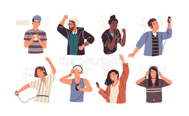 Reeks van blije mensen oortelefoons en hoofdtelefoons dragen, het luisteren aan muziek en het dansen die Bundel van gelukkige jon royalty-vrije illustratie