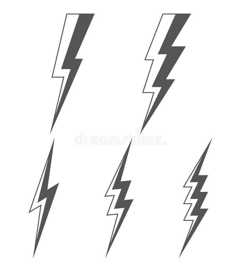 Reeks van bliksem vector illustratie