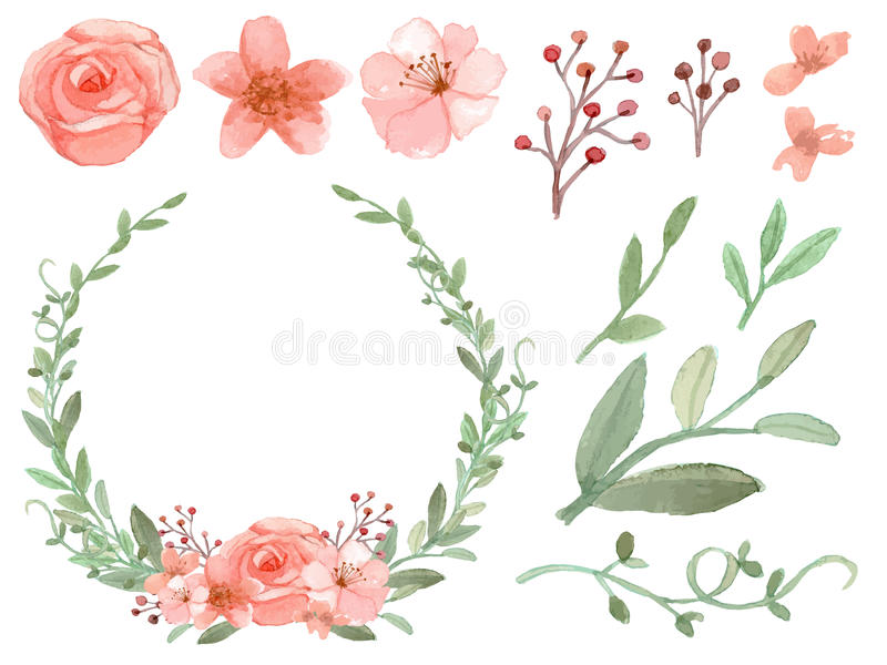 Reeks van bloemen en bladerenvector stock illustratie