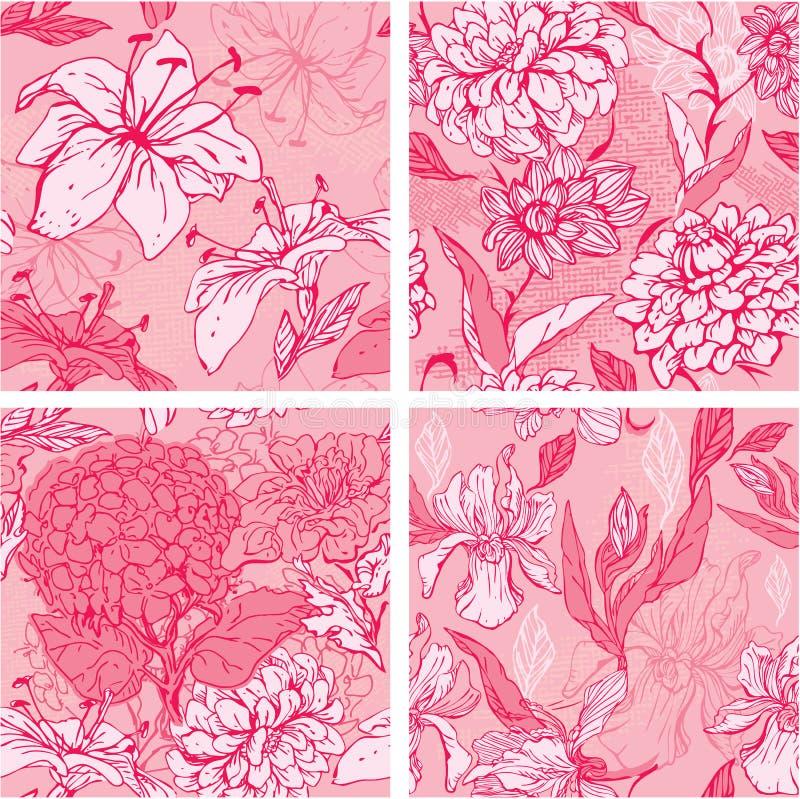 Reeks van 4 Bloemen Naadloze Patronen in roze kleuren vector illustratie