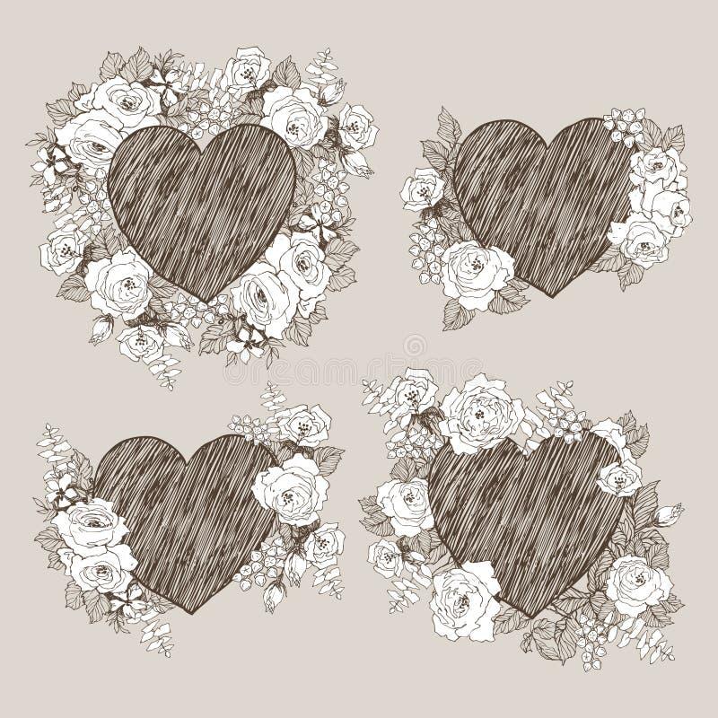 Reeks van bloemen vectorontwerpkader met groot hart Lineaire rozen, eucalyptus, bessen, bladeren witn wit silhouet Hand vector illustratie