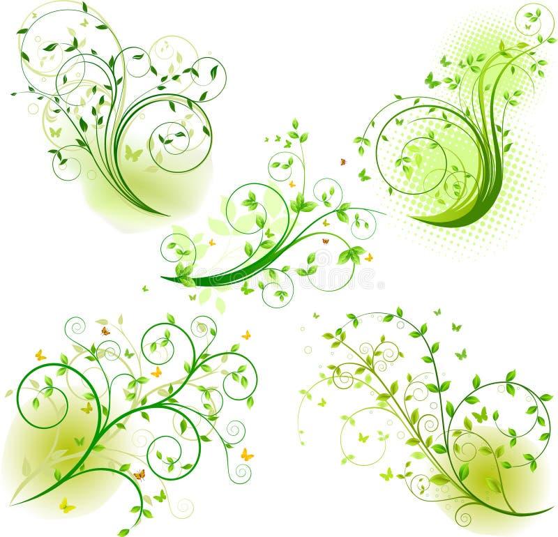Reeks van bloemenachtergrond vector illustratie